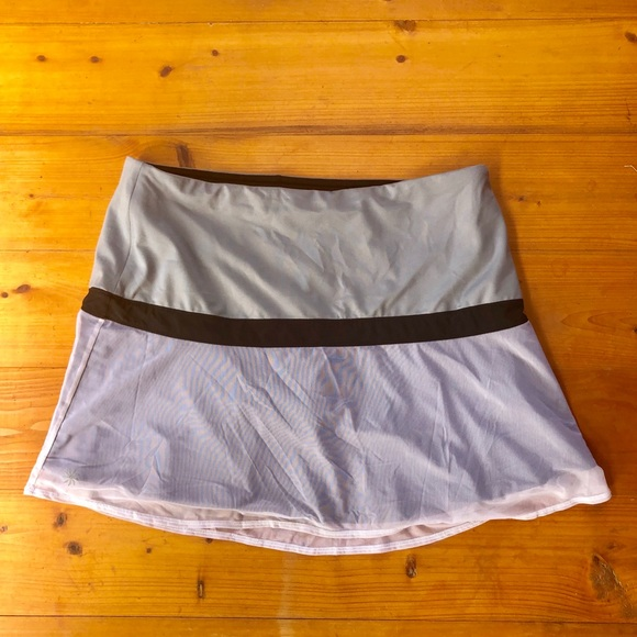 Athleta Pants - Athleta Skort Gray Sheer Ruffle Stretch Skirt L